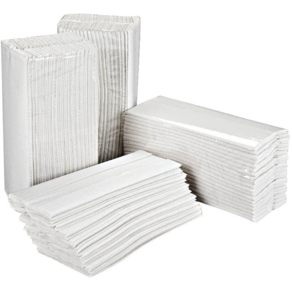 a stack of white c fold paper hand towels
