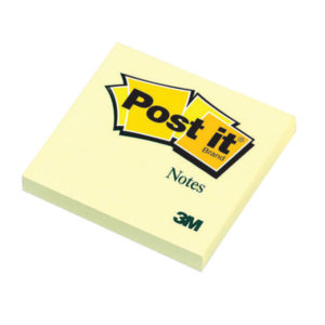 3M POSTIT NOTE 76X76MM YELLOW 654 PACK12