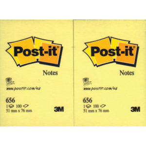3M POSTIT NOTE 51X76MM YELLOW 656 PACK12