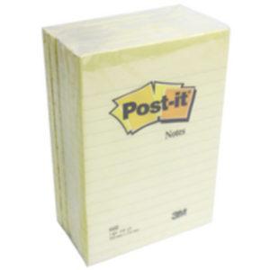 3M POSTIT 101X152MM RULE FEINT YELLOW P6