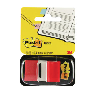 3M POSTIT INDEX TAPE FLAG RED 25MM PK12