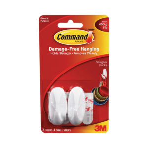 3M COMMAND SMALL OVAL HOOKS WITH STRIPS