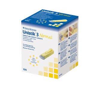 Unistik 3 Normal Depth Lancets, 23G-1.8mm x 100