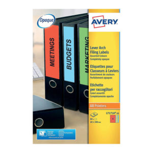 AVERY LEVER ARCH SPINE LABELS ASST PK20