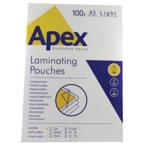 FELLOWES APEX LAM POUCH A3 LGHT CLR P100
