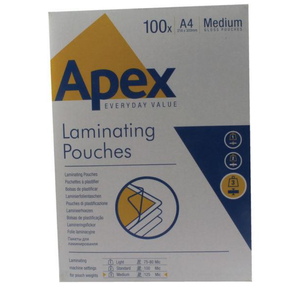 FELLOWES APEX LAM POUCH A4 MED CLR PK100