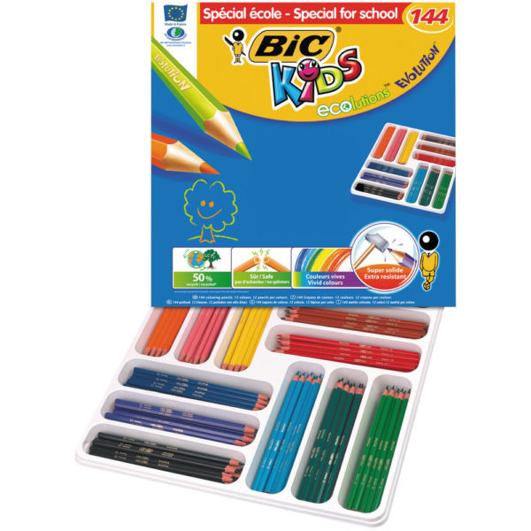 BIC PK 144 KIDS EVO CLRING PENCILS ASSTD
