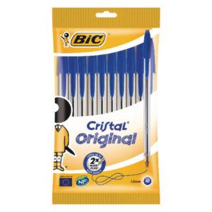 BIC CRISTAL BALLPOINT MEDIUM BLUE PK10