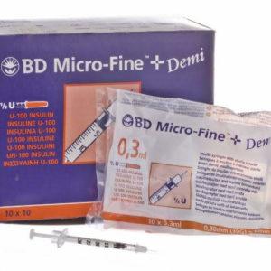 BD Micro Fine Insulin Syringe 0.3ml with 30G Needle x 100