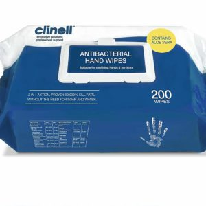 Clinell Antibacterial Hand Wipes/Aloe Vera x 200