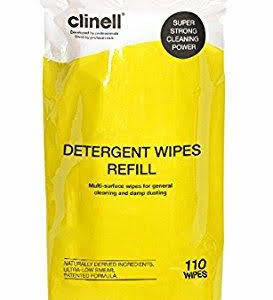 Clinell Detergent Wipes Tub Refill x110 (Yellow)