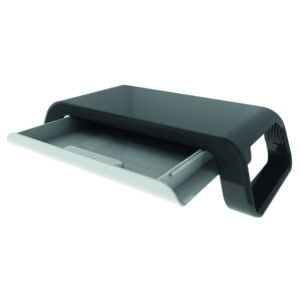 CONTOUR CURVED MONITOR STAND WITH DRAWER