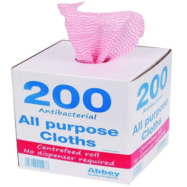 ANTIBACTERIAL CLOTHS ON A ROLL RED BX20