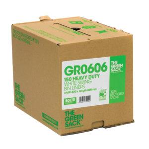 GREEN SACK CUBES WHITE SWING BIN PK150