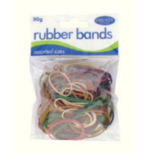 COUNTY RUBBER BANDS COLOURED 50GMS