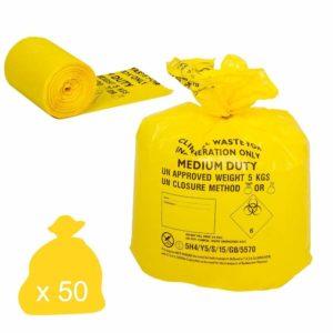 Yellow Clinical Waste Bags, Medium Duty, 30L x 50