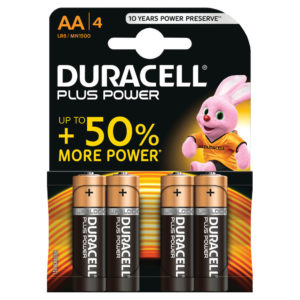 DURACELL PLUS AA 4 PACK COPPER/BLACK