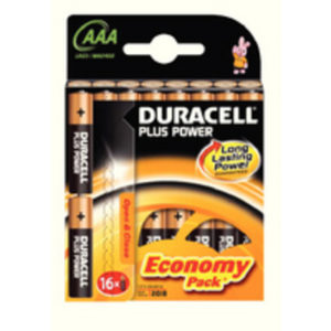 DURACELL AAA PLUS 16 PACK COPPER/BLACK
