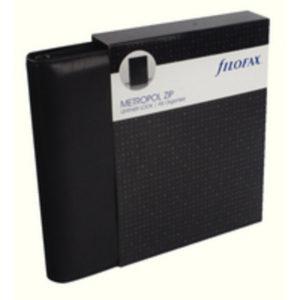 FILOFAX A5 METROPOL ZIP ORGANISER BLACK