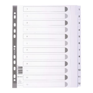 DIVIDERS MYLAR A4 MAXI WHITE 1-12
