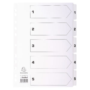 GUILDHALL 1-5 INDEX MYLAR WHITE A4