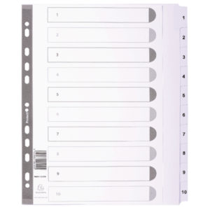 GUILDHALL 1-10 INDEX MYLAR WHITE A4