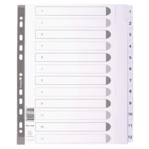 GUILDHALL 1-12 INDEX MYLAR WHITE A4