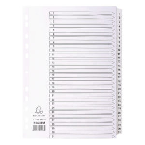 GUILDHALL 1-31 INDEX MYLAR WHITE A4