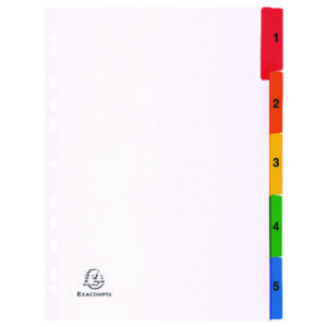 EXACOMPTA A4 WHITE INDEX COL TABS 1-5