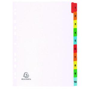 EXACOMPTA A4 WHITE INDEX COL TABS 1-10