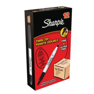 PAPERMATE SHARPIE TWIN TIP MARKER BLACK