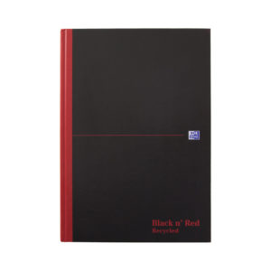 BLK N RED A4 RECYCL CBND NOTEBOOK 192PP