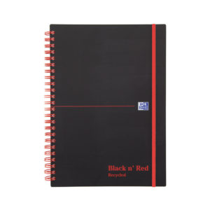 BLACK N RED RECYC A5 POLY W/BND NOTEBKS