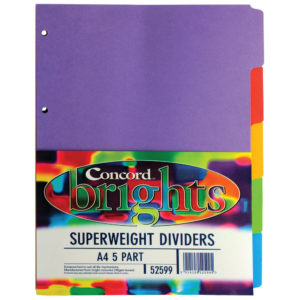 CONCORD BRIGHT H/W A4 5PT DIVIDER ASST