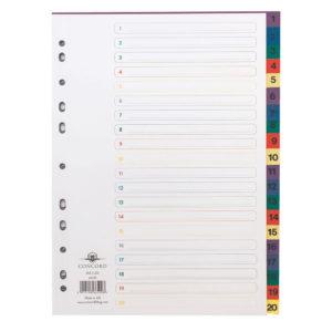 CONCORD INDEX 1-20 A4 MULTICOLOUR 66599