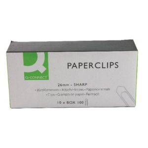 Q CONNECT PAPERCLIPS 26MM NO TEAR PK100