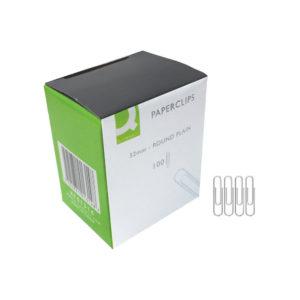 Q CONNECT PAPERCLIPS 32MM PLAIN PK100