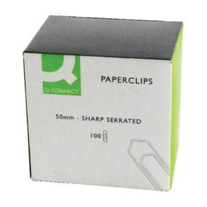 Q-CONNECT PAPERCLIP 50MM NO TR P100