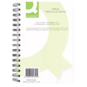 Q CONNECT WIRO BOUND TRIPLICATE BOOK 8X5