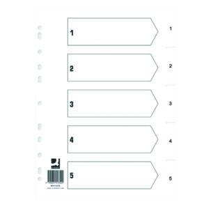 Q CONNECT INDEX 1-5 POLYP WHT PK25