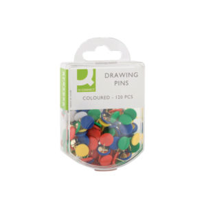 Q CONNECT DRAWING PINS COLOURED PK120