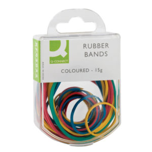 Q CONNECT RUBBER BANDS COLOURED 15G