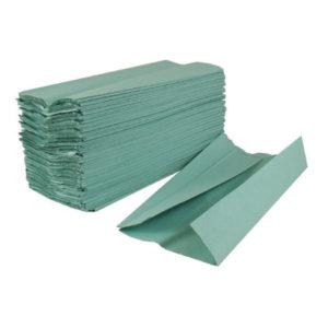 2WORK CFOLD HAND TOWELS 1PLY GRN PK2880