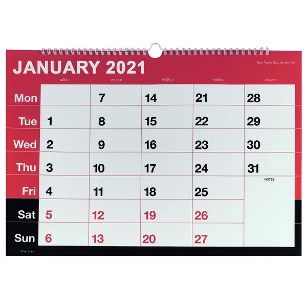 MONTHLY CALENDAR A3 WIREBOUND 2021