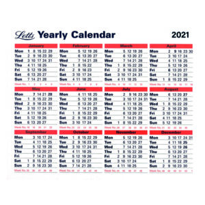 LETTS YEARLY CALENDAR 2021