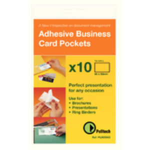 BUSINESS CARD PKT 60X95MM SIDE OPEN PK10