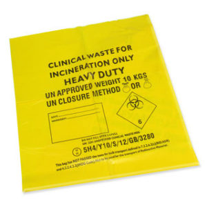 Yellow Clinical Waste Bags, Heavy Duty, 90L x 25