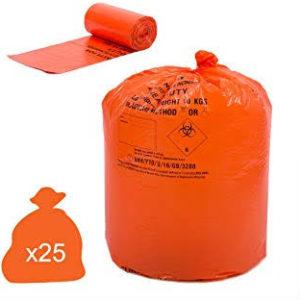 Orange Clinical Waste Bags, Heavy Duty, 90L x 25