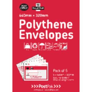 POSTPAK POLY ENVELOPES 440 X 320 PK 5
