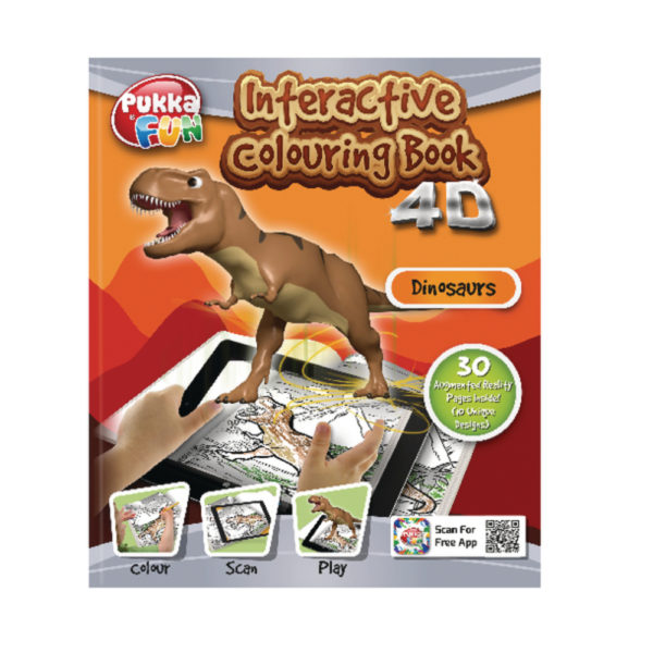 4D INTACTIVE COLOURING/ACT BK DINOSAURS